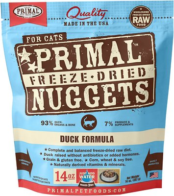 Primal Duck Formula Nuggets Grain-Free Raw Freeze-Dried Cat Food, 14-oz bag