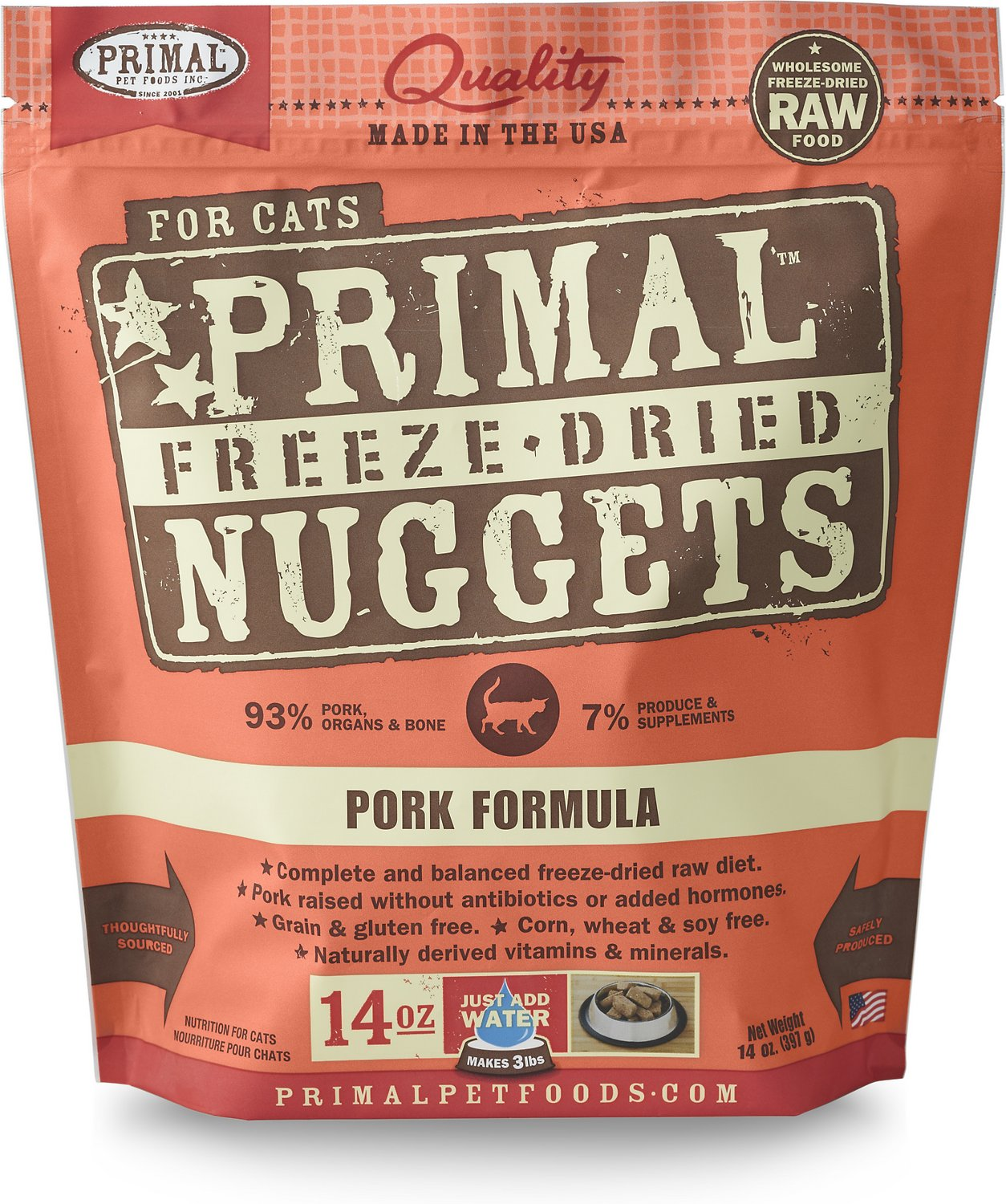 Primal Pork Formula Nuggets Grain-Free Raw Freeze-Dried Cat Food Image