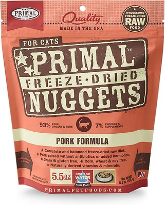 Primal Pork Formula Nuggets Grain-Free Raw Freeze-Dried Cat Food, 5.5-oz bag