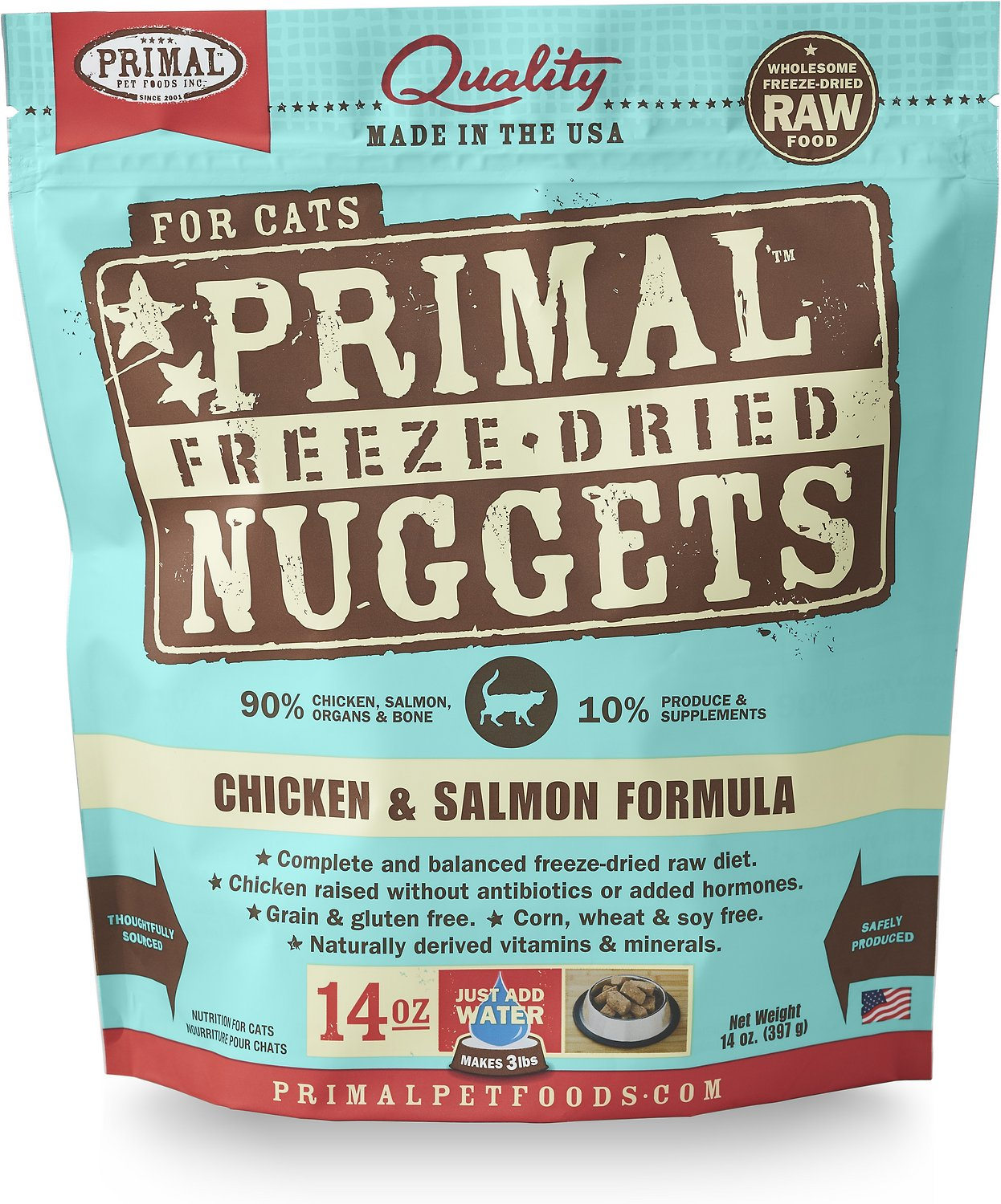 Primal Chicken & Salmon Formula Nuggets Grain-Free Raw Freeze-Dried Cat Food Image