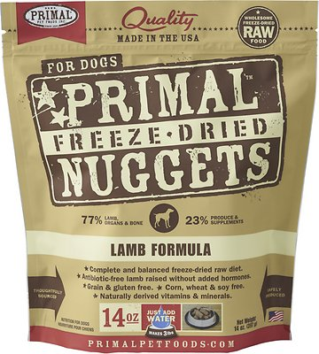 Primal Lamb Formula Nuggets Grain-Free Raw Freeze-Dried Dog Food, 14-oz bag