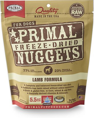 Primal Lamb Formula Nuggets Grain-Free Raw Freeze-Dried Dog Food, 5.5-oz bag