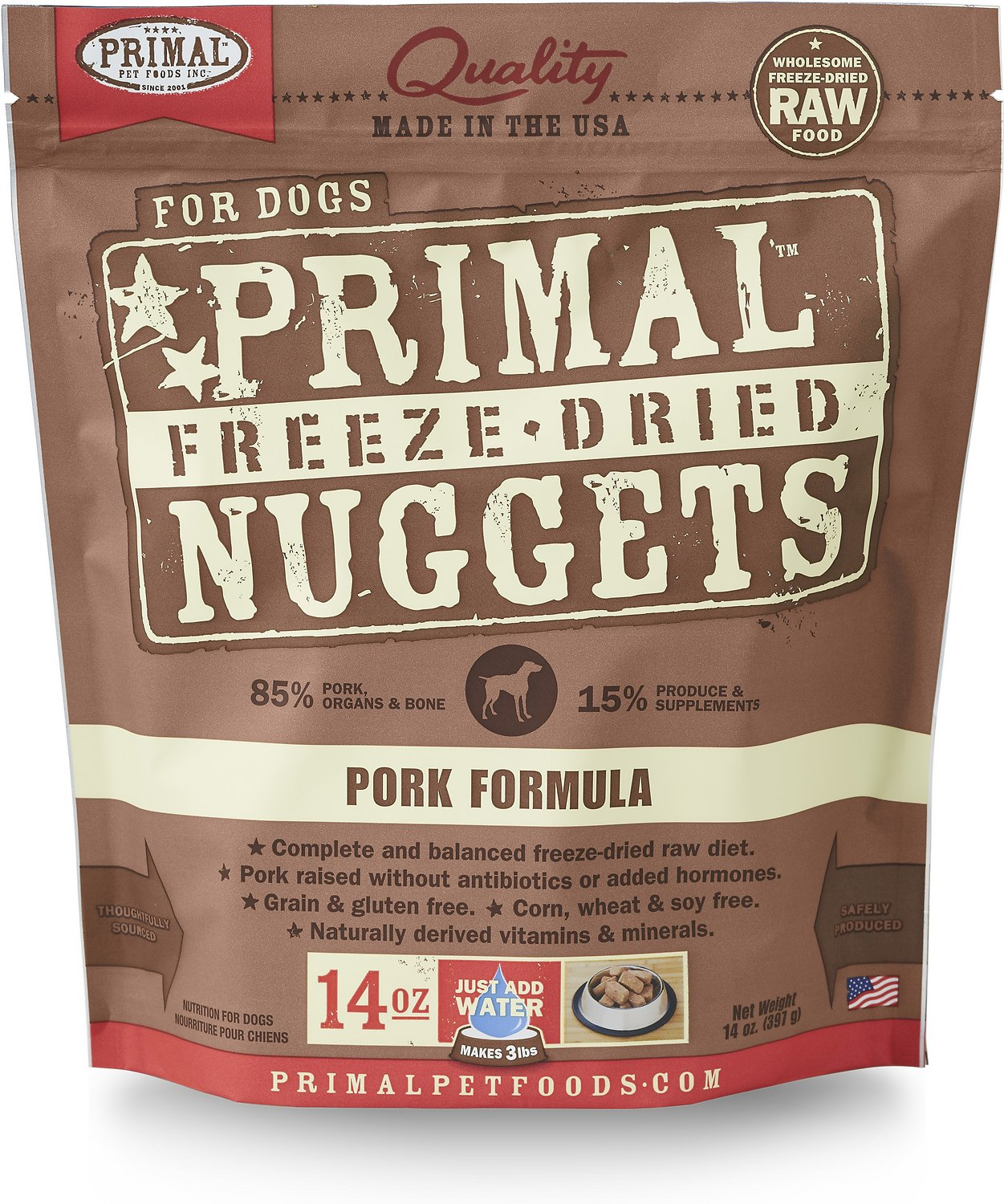 Primal Pork Formula Nuggets Grain-Free Raw Freeze-Dried Dog Food Image