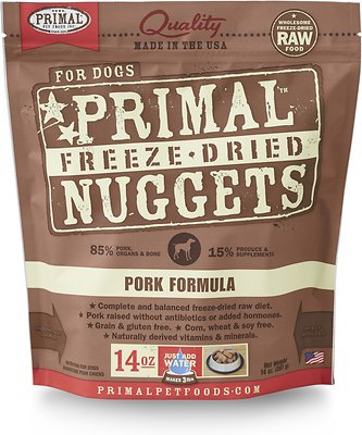 Primal Pork Formula Nuggets Grain-Free Raw Freeze-Dried Dog Food, 14-oz bag