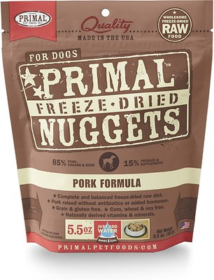 Primal Pork Formula Nuggets Grain-Free Raw Freeze-Dried Dog Food, 5.5-oz bag
