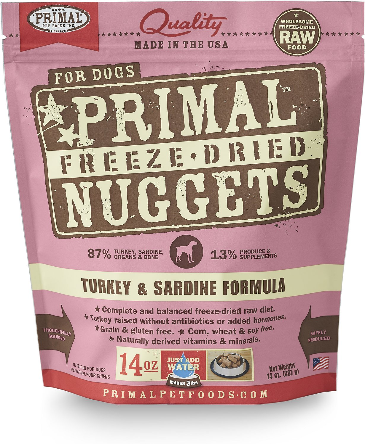 Primal Turkey & Sardine Formula Nuggets Grain-Free Raw Freeze-Dried Dog Food Image