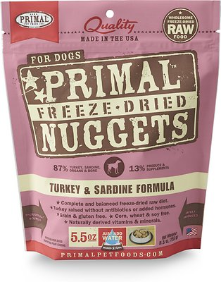 Primal Turkey & Sardine Formula Nuggets Grain-Free Raw Freeze-Dried Dog Food, 5.5-oz bag