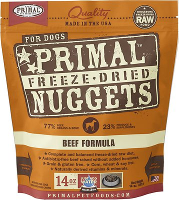 Primal Beef Formula Nuggets Grain-Free Raw Freeze-Dried Dog Food, 14-oz bag Weights: 14 ounces, Size: 14-oz bag