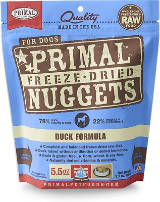 Primal Duck Formula Nuggets Grain-Free Raw Freeze-Dried Dog Food, 5.5-oz bag