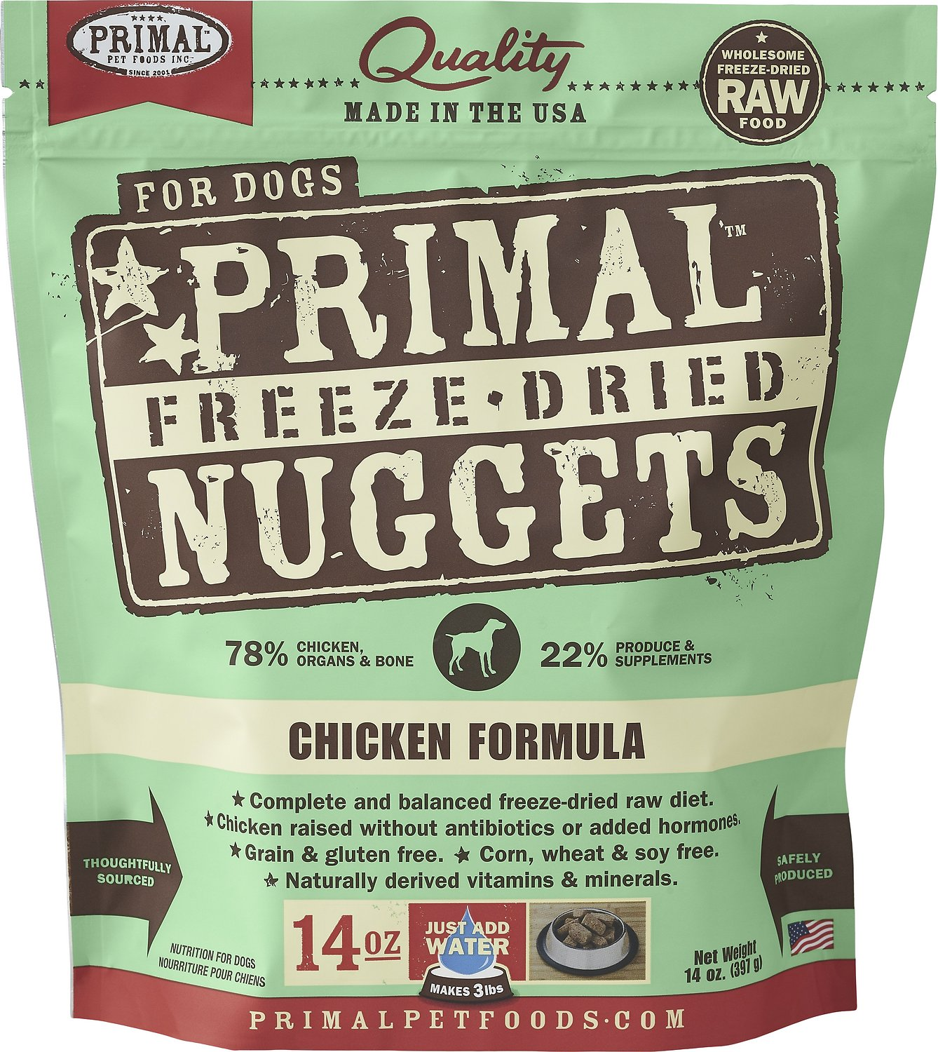 Primal Chicken Formula Nuggets Grain-Free Raw Freeze-Dried Dog Food Image