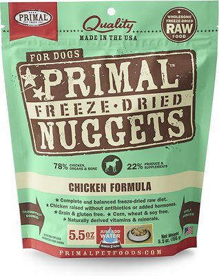 Primal Chicken Formula Nuggets Grain-Free Raw Freeze-Dried Dog Food, 5.5-oz bag