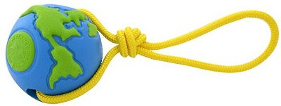 Planet Dog Orbee-Tuff Orbee Ball with Rope Tug Dog Toy, Blue/Green