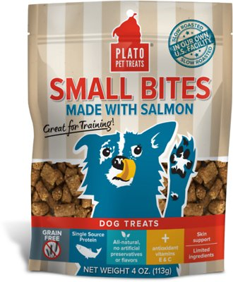 Plato Small Bites Slow Roasted Salmon Dog Treats, 4-oz bag