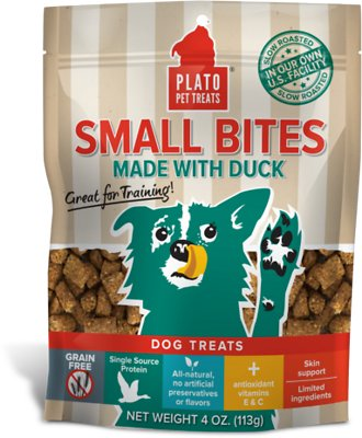 Plato Small Bites Slow Roasted Duck Dog Treats, 4-oz bag