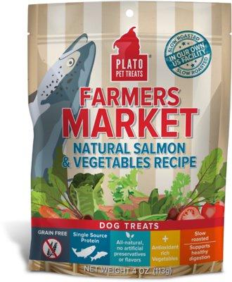Plato Farmers Market Salmon & Vegetables Grain-Free Dog Treats, 4-oz bag
