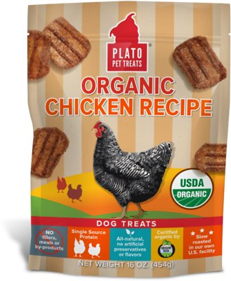 Plato Organic Chicken Recipe Dog Treats, 16-oz bag