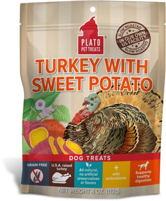Plato Real Strips Turkey With Sweet Potato Dog Treats, 4-oz bag