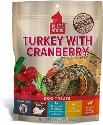 Plato Real Strips Turkey With Cranberry Dog Treats, 4-oz bag