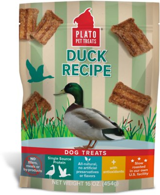 Plato Original Real Strips Duck Recipe Dog Treats, 16-oz bag