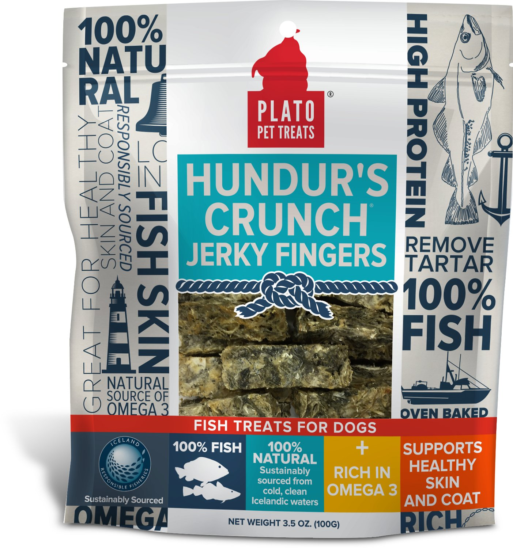 Plato Hundur's Crunch Fish Jerky Fingers Dog Treats, 3.5-oz