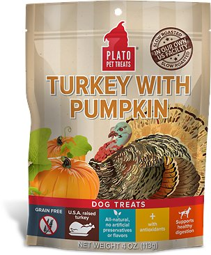 Plato Real Strips Turkey with Pumpkin Dog Treats, 4-oz bag