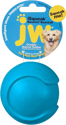 JW Pet iSqueak Bouncin' Baseball Dog Toy, Color Varies