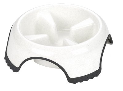 JW Pet Skid Stop Slow Feed Dog Bowl, Color Varies