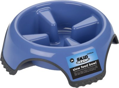 JW Pet Skid Stop Slow Feed Dog Bowl, Color Varies, Medium