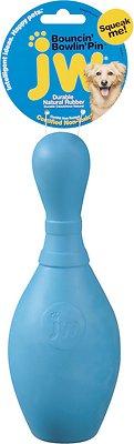 JW Pet iSqueak Bouncin' Bowlin' Pin Dog Toy, Color Varies