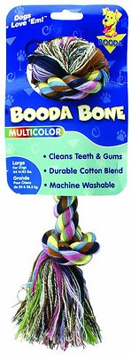Booda Multi Color 2-Knot Rope Bone Dog Toy, Color Varies