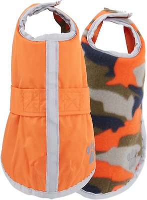 Zack & Zoey Reversible Nor'easter Dog Blanket Coat, Orange, X-Small