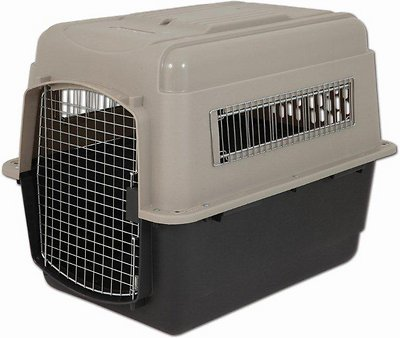 Petmate Ultra Vari Kennel for Dogs & Cats, Taupe/Black, 32-in