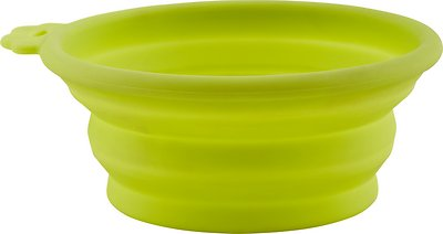 Petmate Silicone Round Collapsible Travel Pet Bowl, Go Go Green, Small