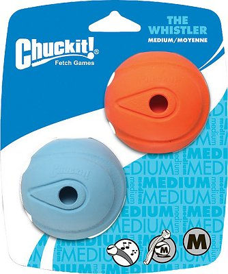 Chuckit! The Whistler Ball, Color Varies, Medium, 2-pk