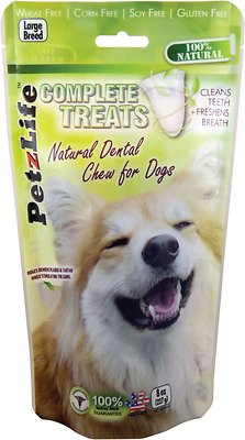 PetzLife Complete Treats Natural Dental Chew for Dogs, Large Breed, 8-oz bag