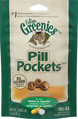 Feline Greenies Pill Pockets Chicken Flavor Capsule/Tablet Cat Treats, 45 count