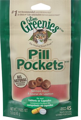 Feline Greenies Pill Pockets Salmon Flavor Capsule/Tablet Cat Treats, 45 count
