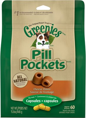 Greenies Pill Pockets Cheese Flavor Capsule Dog Treats, 60 count