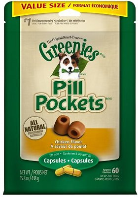 Greenies Pill Pockets Canine Chicken Flavor Capsule Dog Treats, 60 count