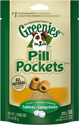 Greenies Pill Pockets Canine Chicken Flavor Capsule Dog Treats, 30 count