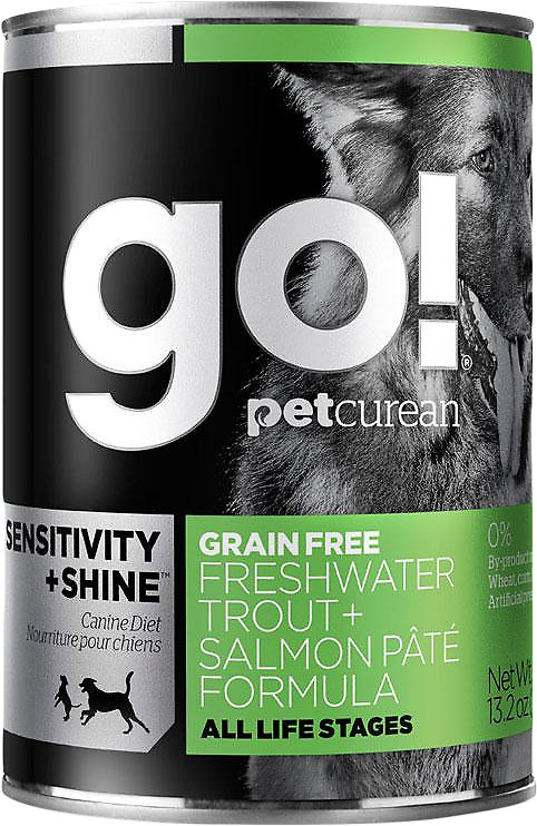 Petcurean Dog Go! Sensitivity + Shine Grain-Free Freshwater Trout & Salmon Pate Formula Canned Dog Food, 13.2-oz