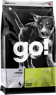 Petcurean Dog Go! Fit + Free Grain-Free Chicken, Turkey & Trout Puppy Recipe Dry Dog Food