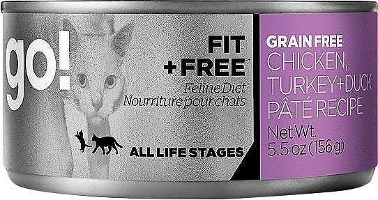 Petcurean Cat Go! Fit + Free Grain-Free Chicken, Turkey & Duck Pate Recipe Canned Cat Food, 5.5-oz
