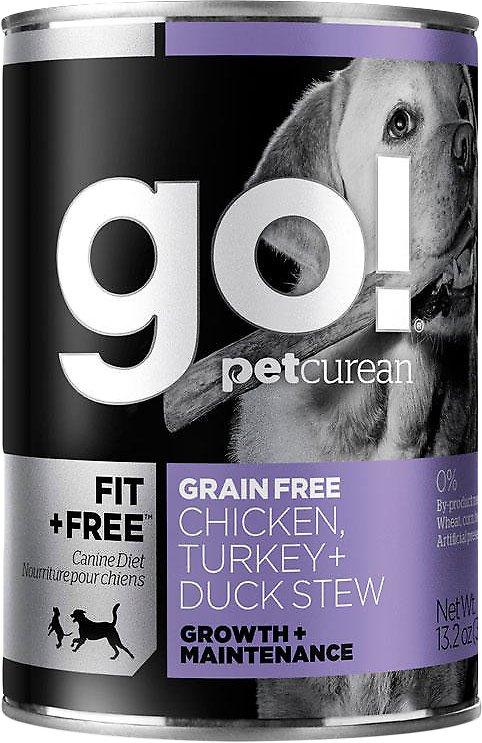 Petcurean Dog Go! Fit + Free Grain-Free Chicken, Turkey & Duck Stew Canned Dog Food, 13.2-oz