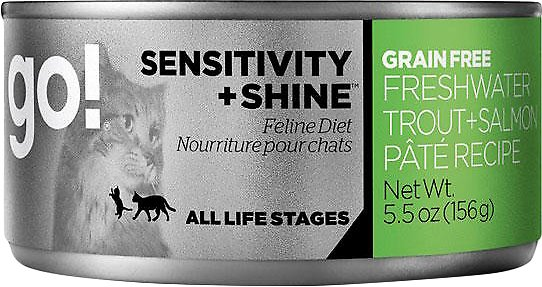 Petcurean Cat Go! Sensitivity + Shine Grain-Free Freshwater Trout & Salmon Pate Recipe Canned Cat Food, 5.5-oz