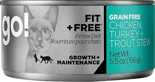 Petcurean Cat Go! Fit + Free Grain-Free Chicken, Turkey & Trout Stew Canned Cat Food, 5.5-oz