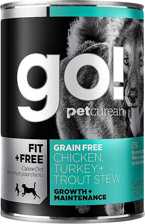Petcurean Dog Go! Fit + Free Grain-Free Chicken, Turkey & Trout Stew Canned Dog Food, 13.2-oz