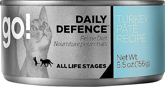 Petcurean Cat Go! Daily Defence Turkey Pate Recipe Canned Cat Food, 5.5-oz