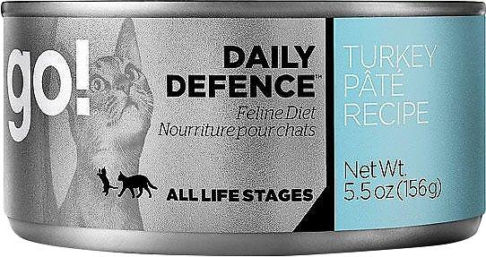 Petcurean Cat Go! Daily Defence Turkey Pate Recipe Canned Cat Food, 5.5-oz