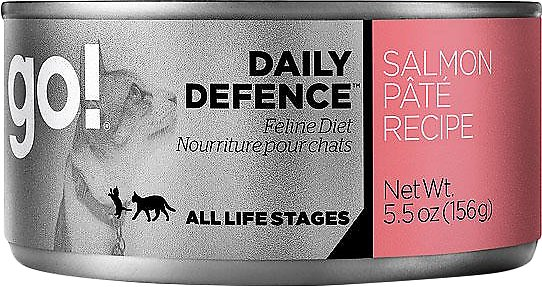 Petcurean Cat Go! Daily Defence Salmon Pate Recipe Canned Cat Food, 5.5-oz